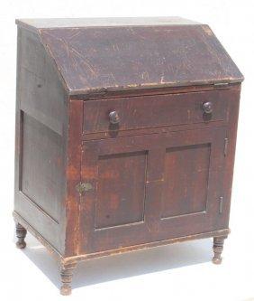 Ca 1810-1830 Pa Poplar & Pine Country Slant Front Desk