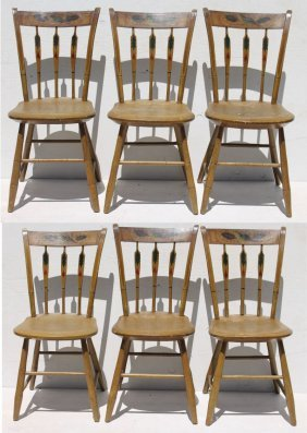 Rare Set Of 6 Sgnd T. Atwood Paint Dec Windsor Chairs