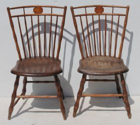 Pr Of Period Birdcage Windsor Bamboo Turned Sidechairs