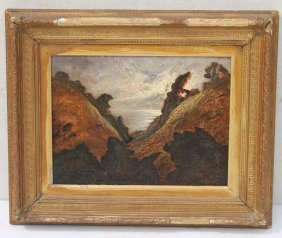 """Gustave Dore (1832-1883 French) 12""""x16"""" O/c Landscape"""