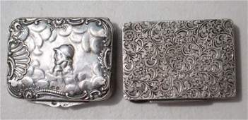 antique Austrian silver engraved match case w striker