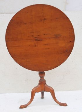 18thc Rare Tiger Maple Period Qa Tilt Top Round Tea