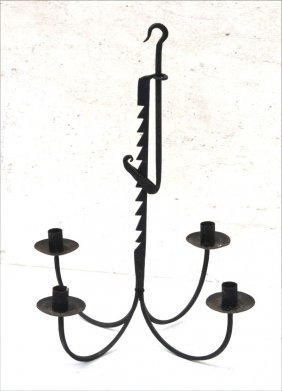 Very Nice 19thc Wrought Iron Rare Trammel Adjustable