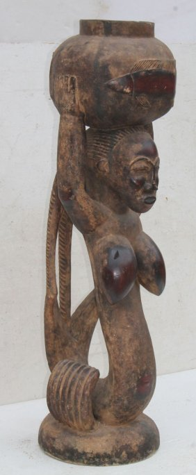 19thc African Wood Carving Of Woman W Bowl On Head &