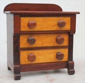 19thc Miniature Empire Chest W Birdseye Maple Drawer