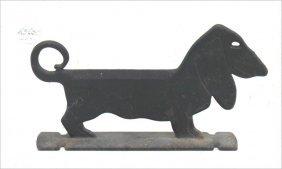 Ca 1900-1920 American Cast Iron Dachshund Bootscraper -