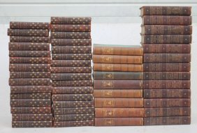 Lg Lot Of Antique Leather Bound Books Incl The Works Of