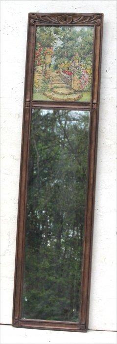 1920's/30's Tall & Narrow 2 Part Mirror W Upper Tablet