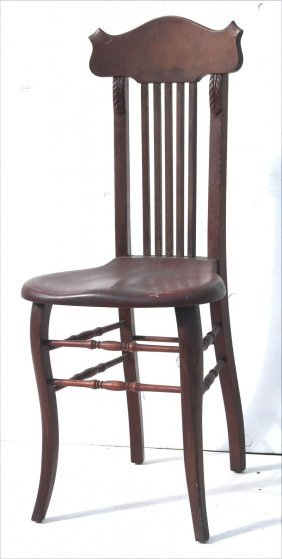 Antique Carved & Spindled Back Ballroom Type Chair W
