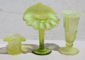 Lot Of 3 Pcs Of Art Glass In Shades Of Vaseline & Green