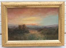 "American School 12""x18"" o/c sunset landscape dated 1903"