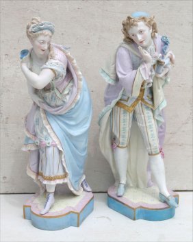 Large Pr Of Attrib German Bisque Man & Woman Sculptures