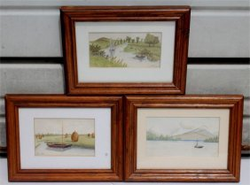 "E.h. Crandell Jr. Lot Of 3 Small W/c's (approx 3""x5"")"