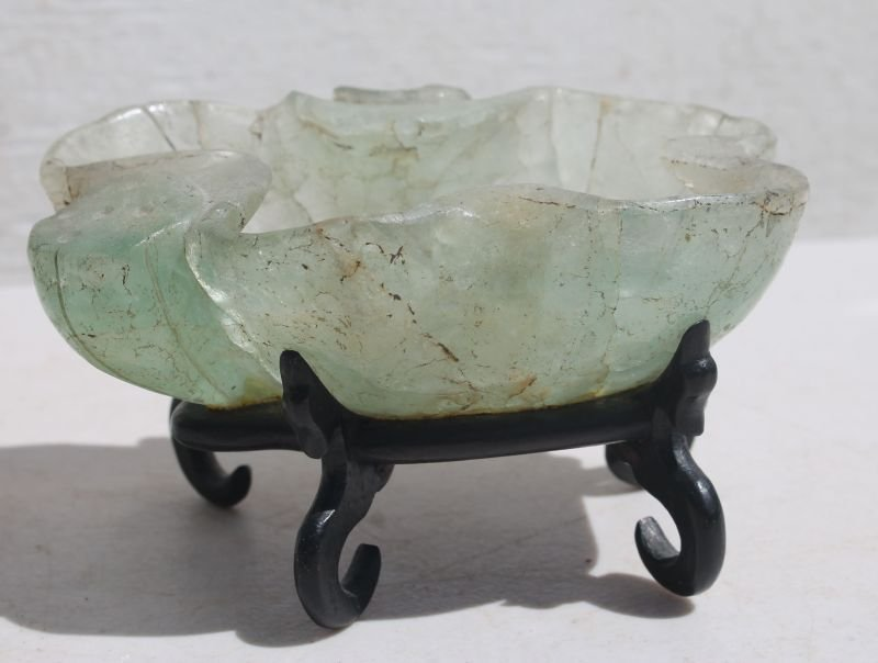 Antique Chinese carved jade lily pad & Lotus bowl on a