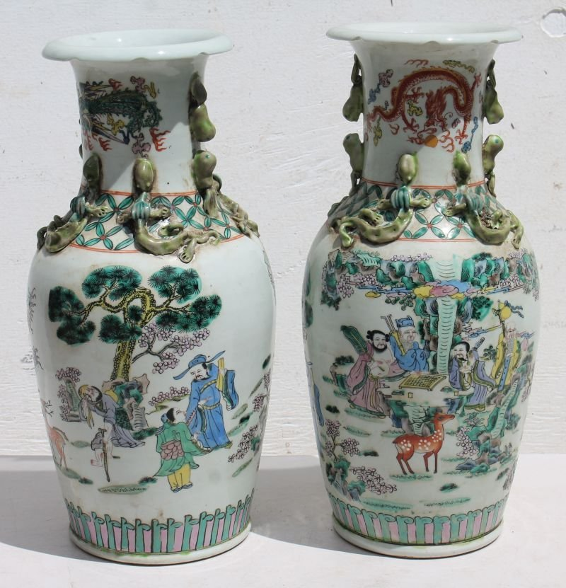 """Pr of Chinese multi-color hand ptd scenic 17"""" porcelain"""