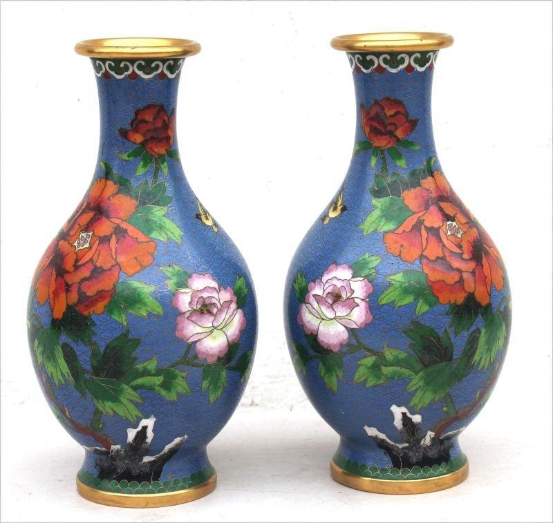 "Pr of 10"" tall bulbous Cloisonne vases w peony dec"
