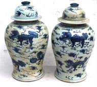 Pr of 19 tall Chinese blue  white porcelain Temple