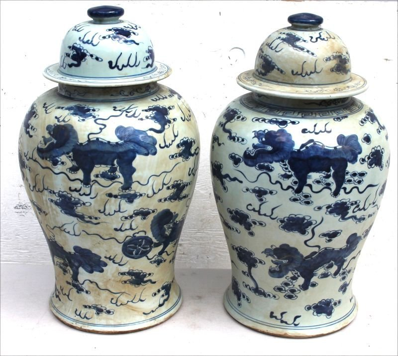"Pr of 19"" tall Chinese blue & white porcelain Temple"