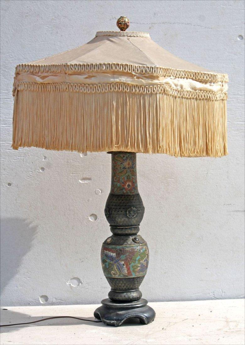 Vintage Art Deco Chinese lamp w 19thC Cloisonne base