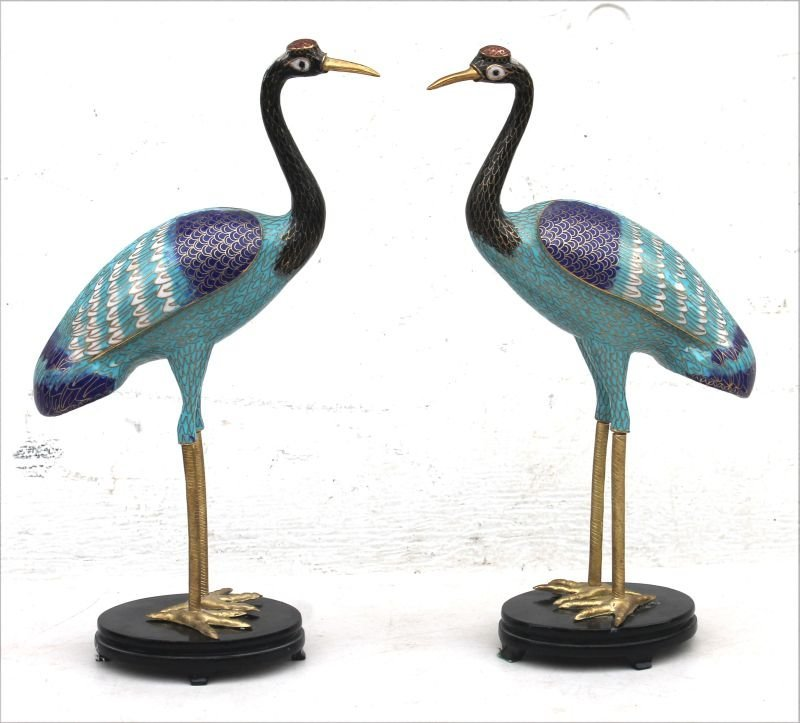 "pr of beautiful Cloisonne cranes - 13"" tall"