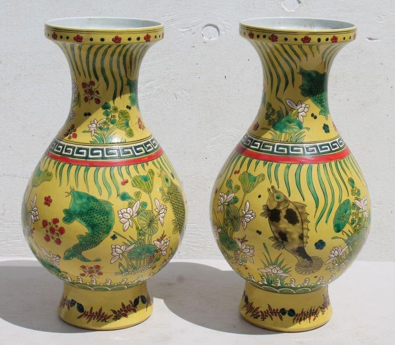 "Pr of 16"" Chinese porcelain Famile Imperial Gold vases"
