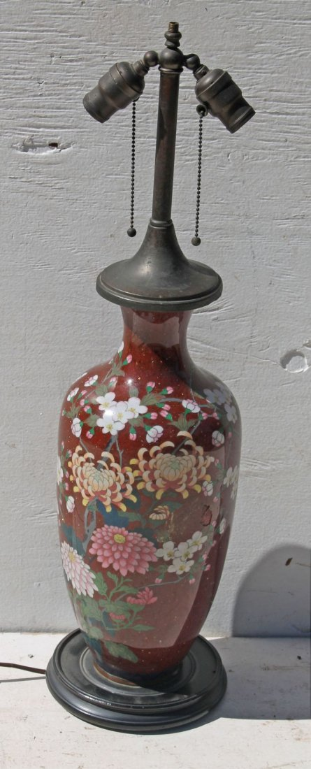 19thC Chinese Cloisonne lamp w chrysanthemums & Dogwood