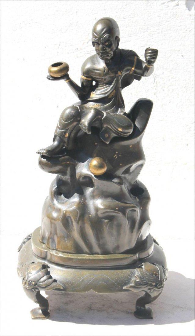 Great antique Japanese 3 part bronze censer inlaid w