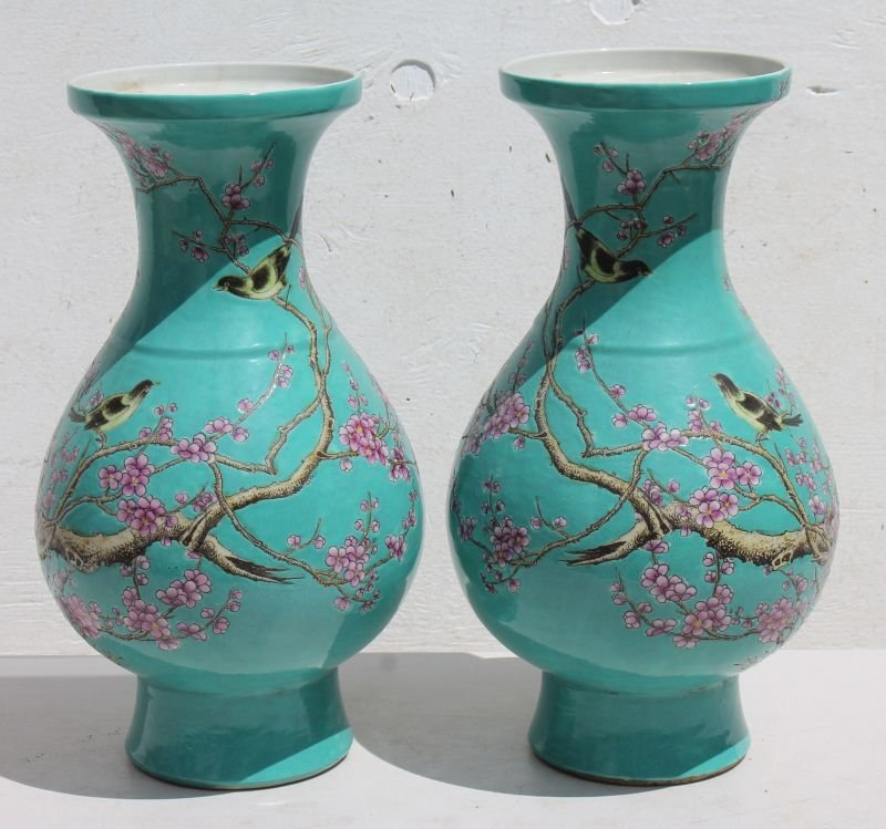 "pr of Chinese blue/green 16"" porcelain vases hnd ptd w"