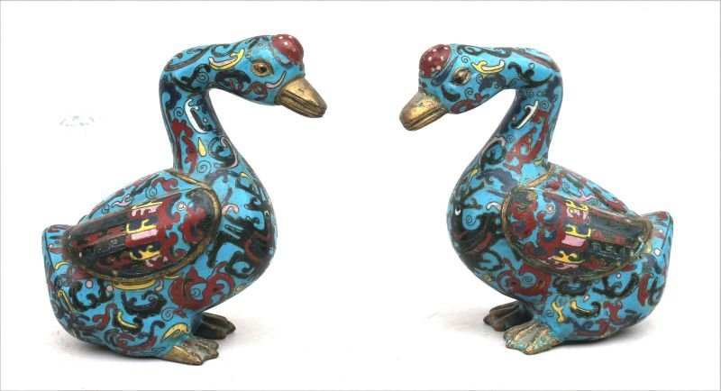 """pr of Cloisonne geese - very colorful - 6 1/2"""" tall x"""
