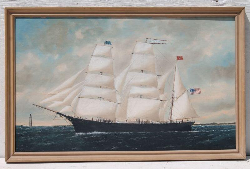"William Pierce Stubbs (1842-1909) 22""x35 3/4"" o/bd ship"
