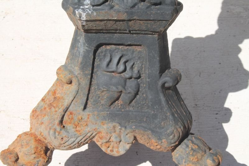 pr of cast iron outdoor used (church) candle stands - - 4