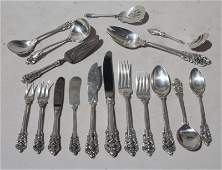 "76 pc Wallace ""Grand Baroque"" sterling silver flatware"