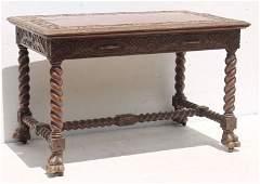 attrib R.J. Horner highly carved 19thC one drawer
