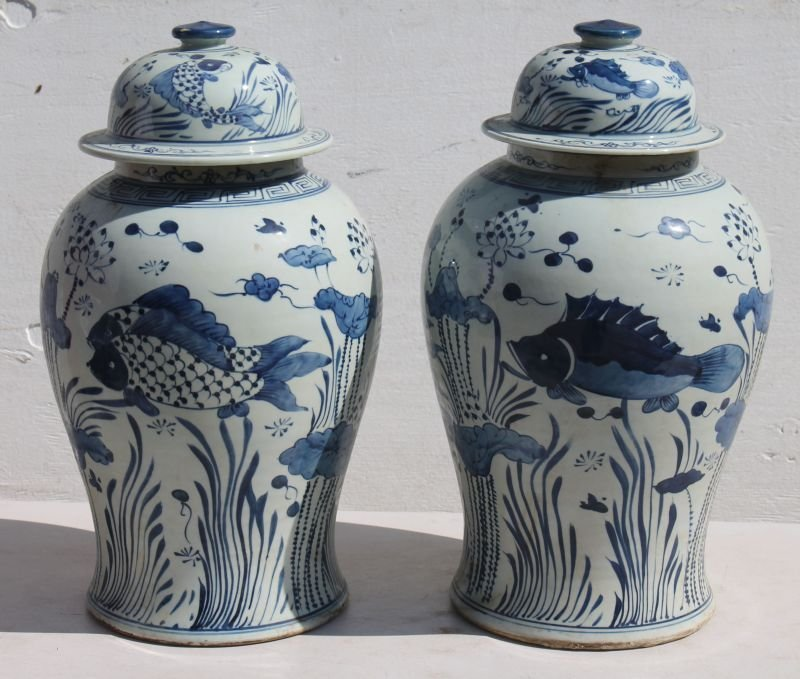 pr of Chinese blue & white porcelain temple jars w Koi