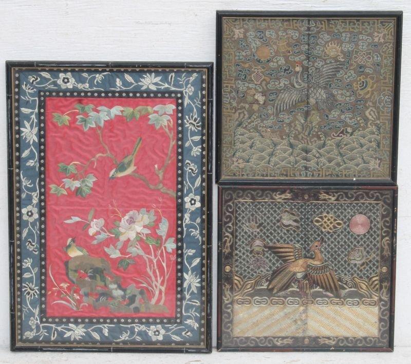 "3 late 19thC Chinese framed needleworks - 11 1/2"" x 12"