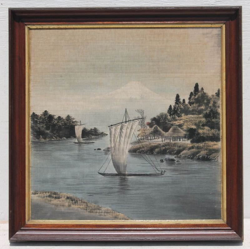 """antique Asian painting on silk - 22"""" square"""