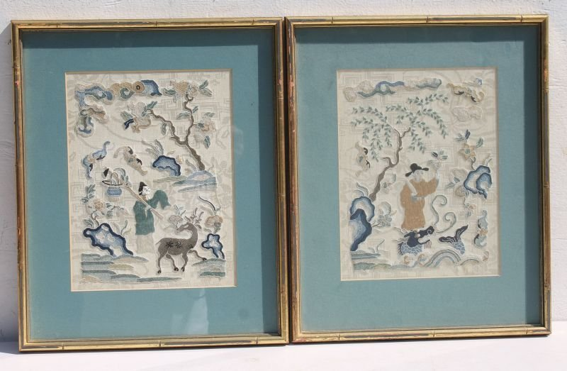 matching pr of 19thC Chinese silk embroideries on silk