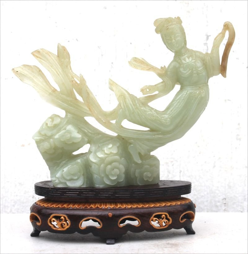 Chinese jade female figural Goddess in box on stand -