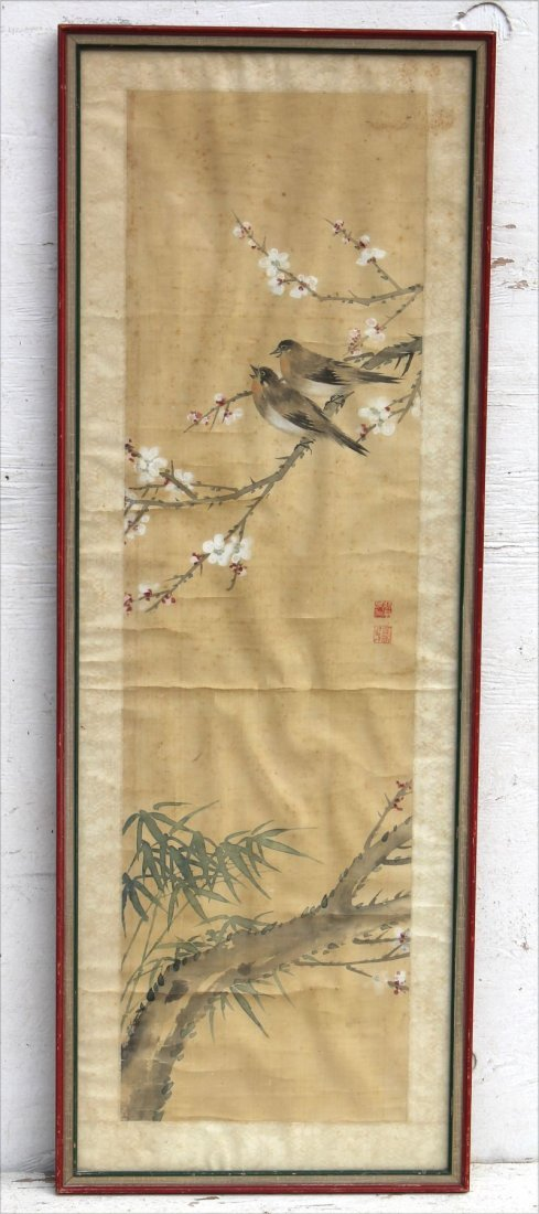 Antique Asian w/c on silk depicting birds on branches,