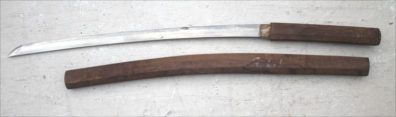 "18thC Samurai sword in scabbard - 24 1/2"" cutting edge"