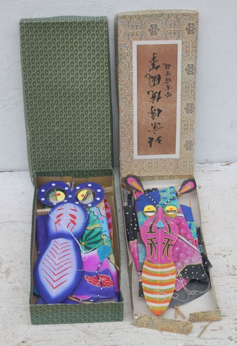 2 vintage Asian silk kites in orig boxes