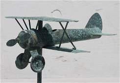 ca 1940 rare graphic 3D form small copper biplane