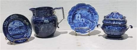 4 pcs of vintage ca 1820's/30's Historical Blue