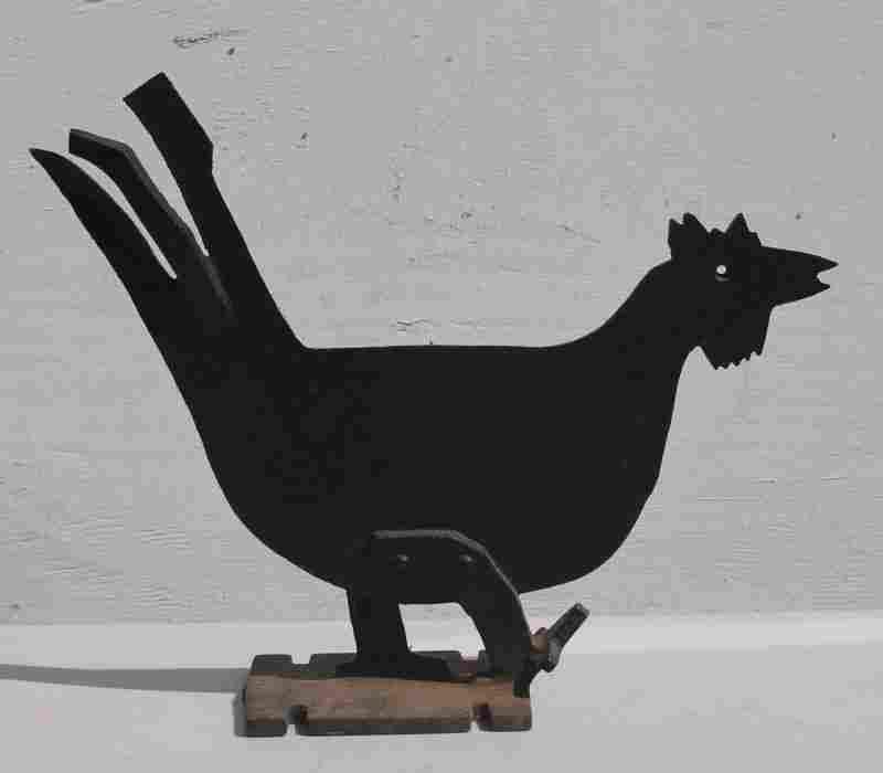 ca 1920 cast iron graphic rooster boot scraper in