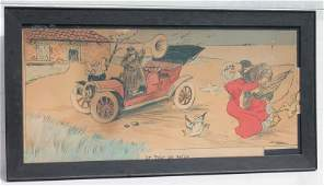 early 20thC French satyrical print man honking horn at