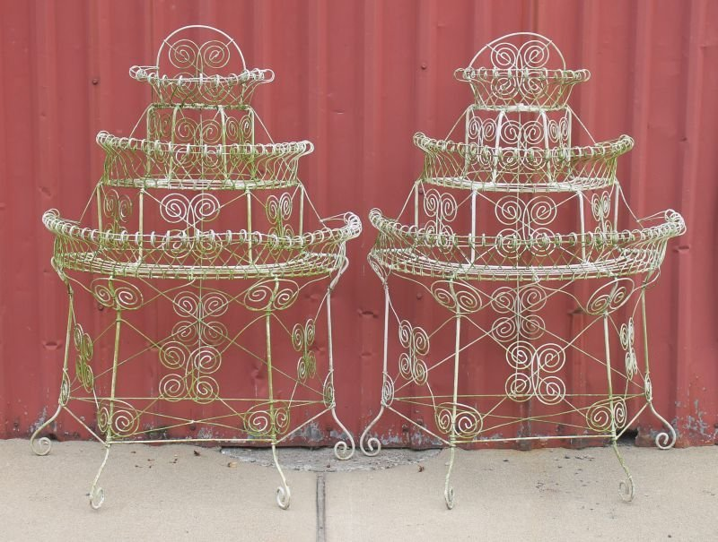 pr of antique French wire 3 tier demi-lune planters -