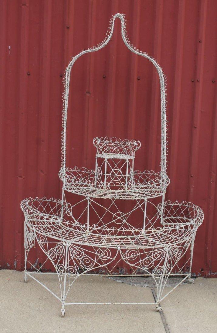 antique French wire arbor form demi-lune 3 tier planter