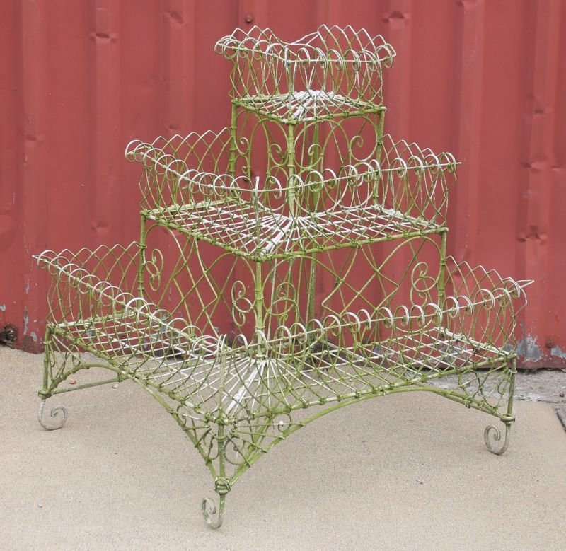 """antique French wire 3 tier corner planter - 29"""" tall x"""