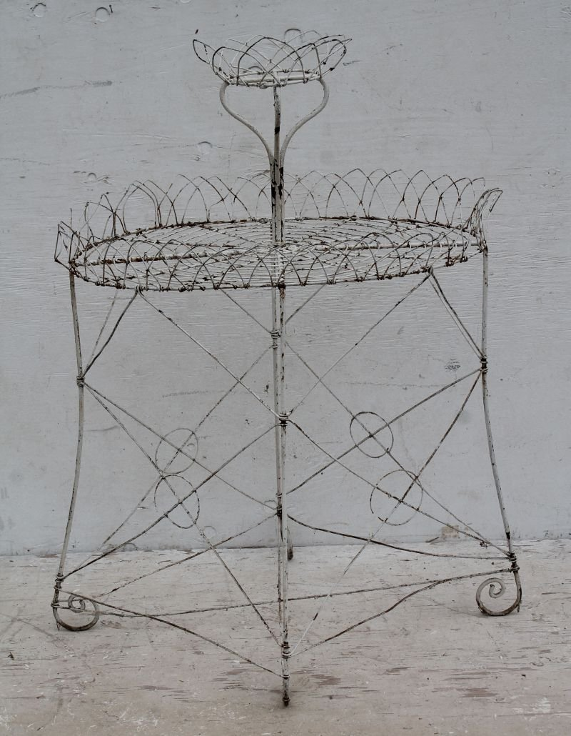 """antique French wire 2 tier oval planter - 43"""" tall x"""