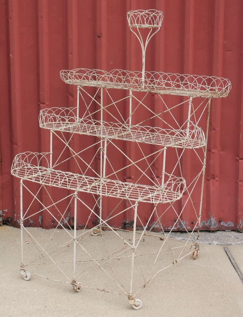 """antique French wire 4 tier planter - 46"""" tall x 33""""wide"""